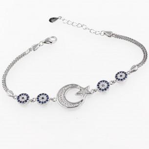 Ay Yıldız Nazar Gümüş Bileklik