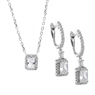 Jewelry Set: Necklace and Earrings in Sterling Silver