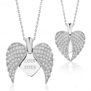 Engravable Angel Wings Sterling Silver Heart Necklace