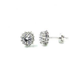 Sterling Silver Cubic Zirconia White 3mm Claw Stud Earrings