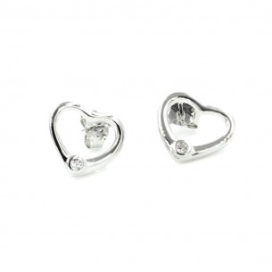 Sterling Silver Cubic Zirconia White Heart Earrings