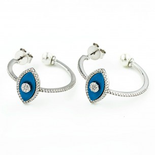 Sterling Silver Cubic Zirconia Pearl Eye Earrings