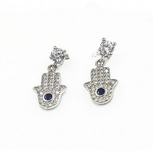Sterling Silver Cubic Zirconia White Hamsa Hand Earrings