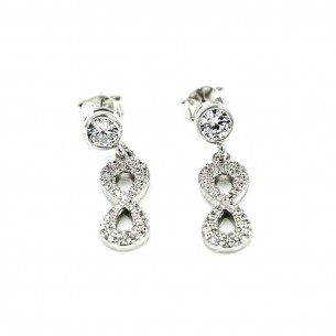 Sterling Silver Cubic Zirconia Infinity Earrings