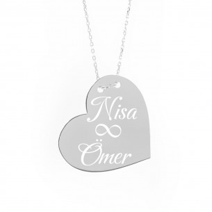 Love Heart Engraved Name Necklace in 925 Sterling Silver