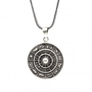 Zodiac 925 Sterling Silver Men Necklace