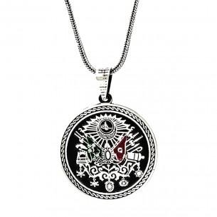 925s Silver Ottoman Coat of Arm Men's Necklace