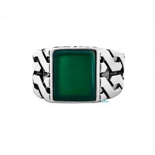 Herrenring 925er Silber mit grün Achat
