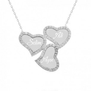 Kette mit drei Herzen und Namen 925er Silber