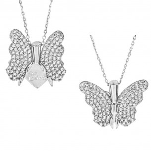 Engraved Name Necklace with Butterfly in 925s Silver