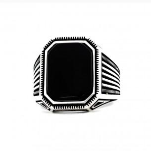 Siyah Oniks Taşlı Modern Gümüş Yüzük
