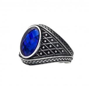 Herrenring 925er Silber mit blau Zirkon