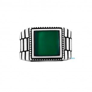 Green Agate Stone 925s Silver Ring
