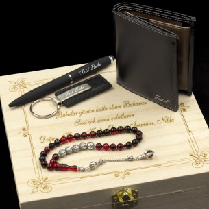Özel İsimli Cüzdan Kalem Anahtarlık Tesbih ve Ahşap Kutulu Hediye Seti