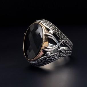 Onyx Stone Zulfiqar 925s Silver Ring