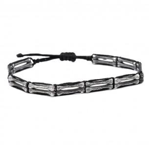 Mens Silver Macrame Bracelet