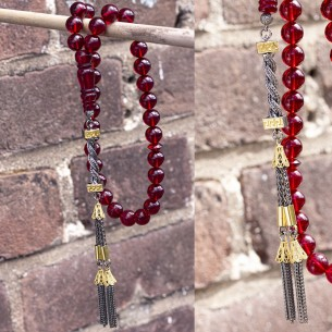 9mm Red Amber Tasbih With 925s Silver Tassle