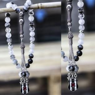 Quarz Tesbih Gebetskette mit BJK aus 925 Silber