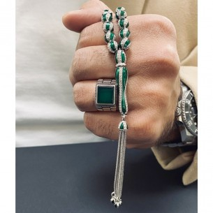 Green 925 Sterling Silver Tasbih with Zircon Stones Agate Stone Ring
