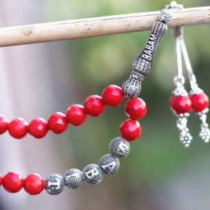 Coral Stones Tesbih Misbaha with Name 925s Silver Tassel