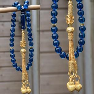 8mm Mavi Sertifakalı Safir Kehribar 1000 Ayar Gümüş Püsküllü Tesbih