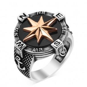Compass Anchor Design 925s Silver Ring