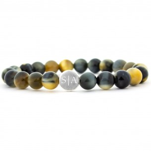 Tiger Eye Bracelet With Text in Sterling Silver