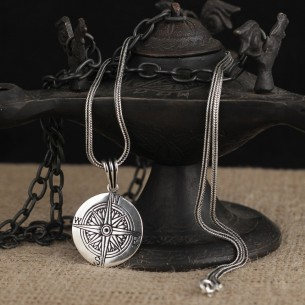 Compass Pendant with Chain for Men 925 Sterling Silver