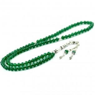925 Ayar Gümüş Püsküllü 99'luk Yeşil Akik Taşı Tesbih