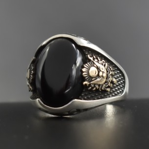 925s Silver Ottoman Signet Ring with Onyx Stone