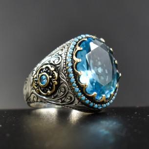 Blue Topaz Taşlı Kalem İşlemeli Gümüş Yüzük