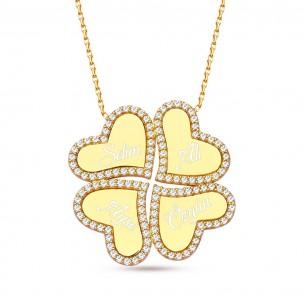 Four Names Luck Hearts 925s Silver Clover Necklace