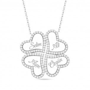 Four Names Luck Hearts 925s Silver Clover Necklace