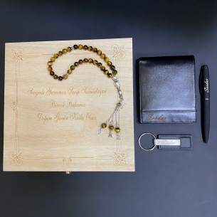 Personalized Leather Wallet Pen Tasbih Keychain Gift Set