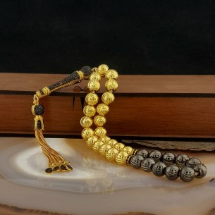 Gold Plated 925 Sterling Silver Tasbih with Zircon Stones