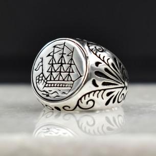 925 Ayar Gümüş Motifli Erkek Yüzük