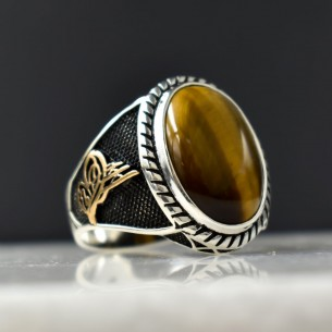 Tiger Eye Stone 925s Silver Ring