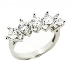 Five Stone Stone Woman Silver Ring