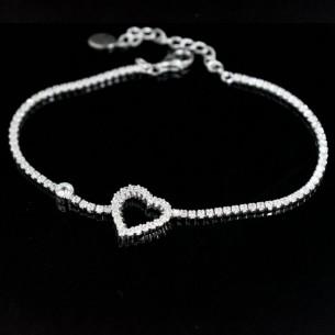 Kalp Model Gümüş Bileklik
