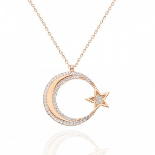Moon Star Necklace in Sterling Silver