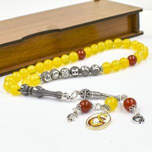 Agate Gebetskette Tesbih GS mit 925er Silber