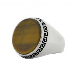 Men's Tiger Eye 925s Silver Ring