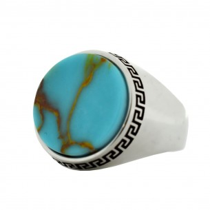 Turquoise Stone Silver Mens Ring