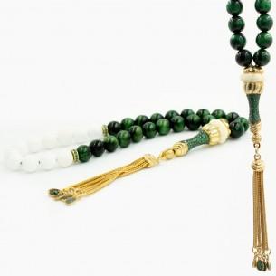Tigerauge Tesbih Gebetskette mit 925er Silber