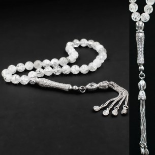 Stone Silver Prayer Beads Tasbih