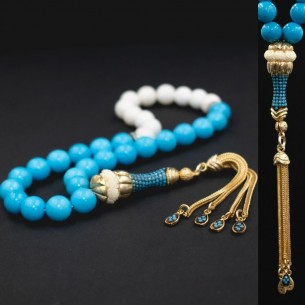 Turquoise Silver Prayer Beads Tasbih