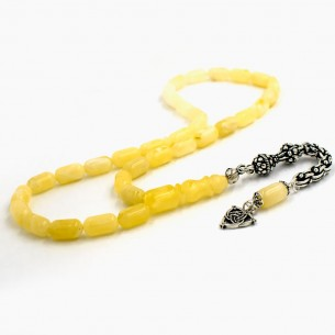 5mm X 10mm Genuine Amber Prayer Beads w Silver Tessel Tasbih