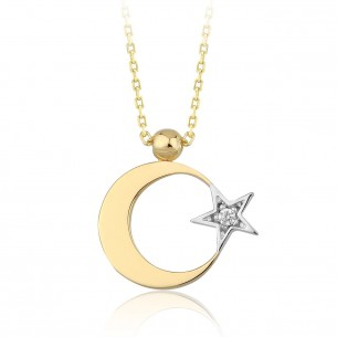 14K Yellow Gold & 0.02 ct Diamond Moon Star Necklace
