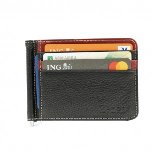 Black Red Real Leather Wallet