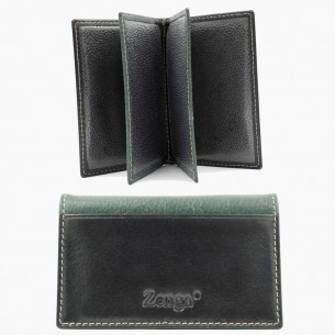 Green Black Leather Card Case